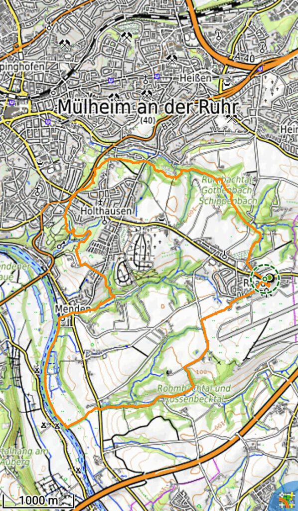 Karte mit der Wanderroute ab Flughafen Mülheim