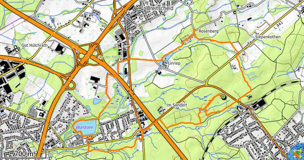Track der Wanderung auf dem A7 bei Ratingen