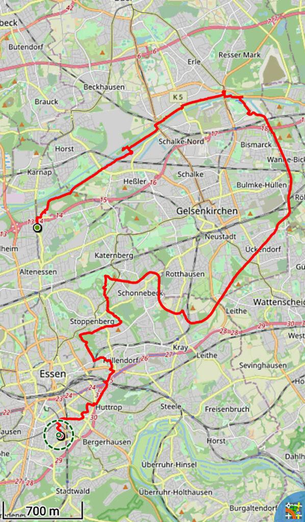 Track der Radtour über Bahntrassen im Ruhrgebiet
