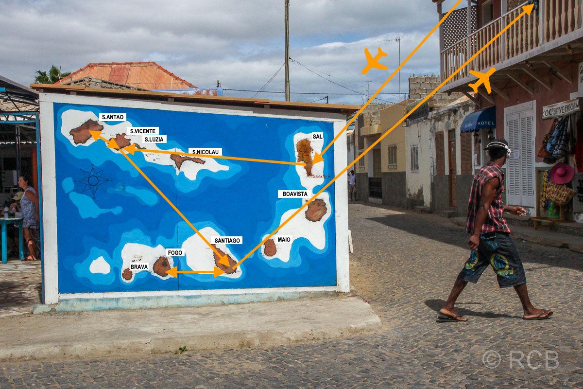 Reiseroute: Sal - s. Vicente - S. Antão - S. Vicente - Santiago - Fogo - Santiago