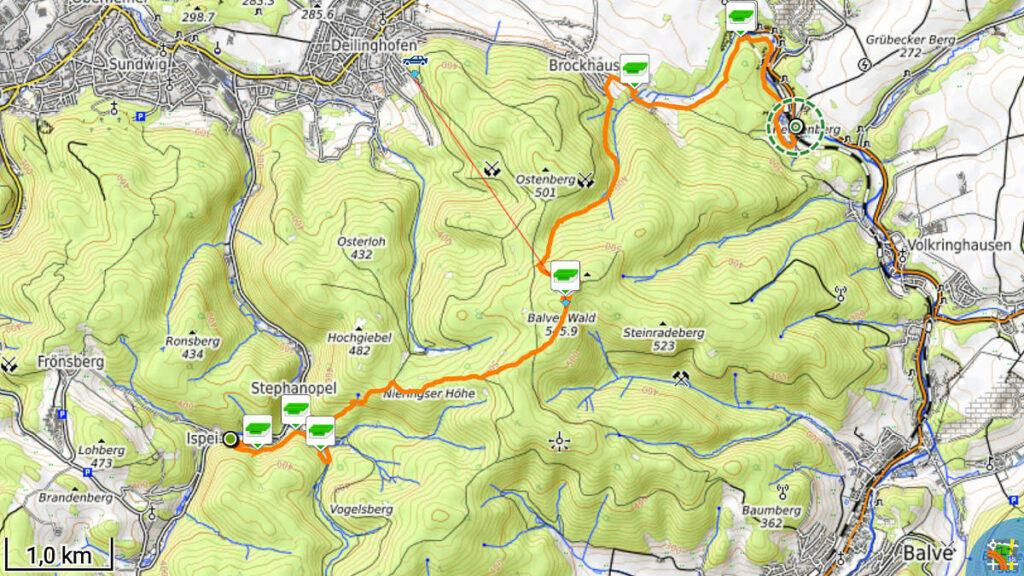 Track der 2. Etappe der Waldroute