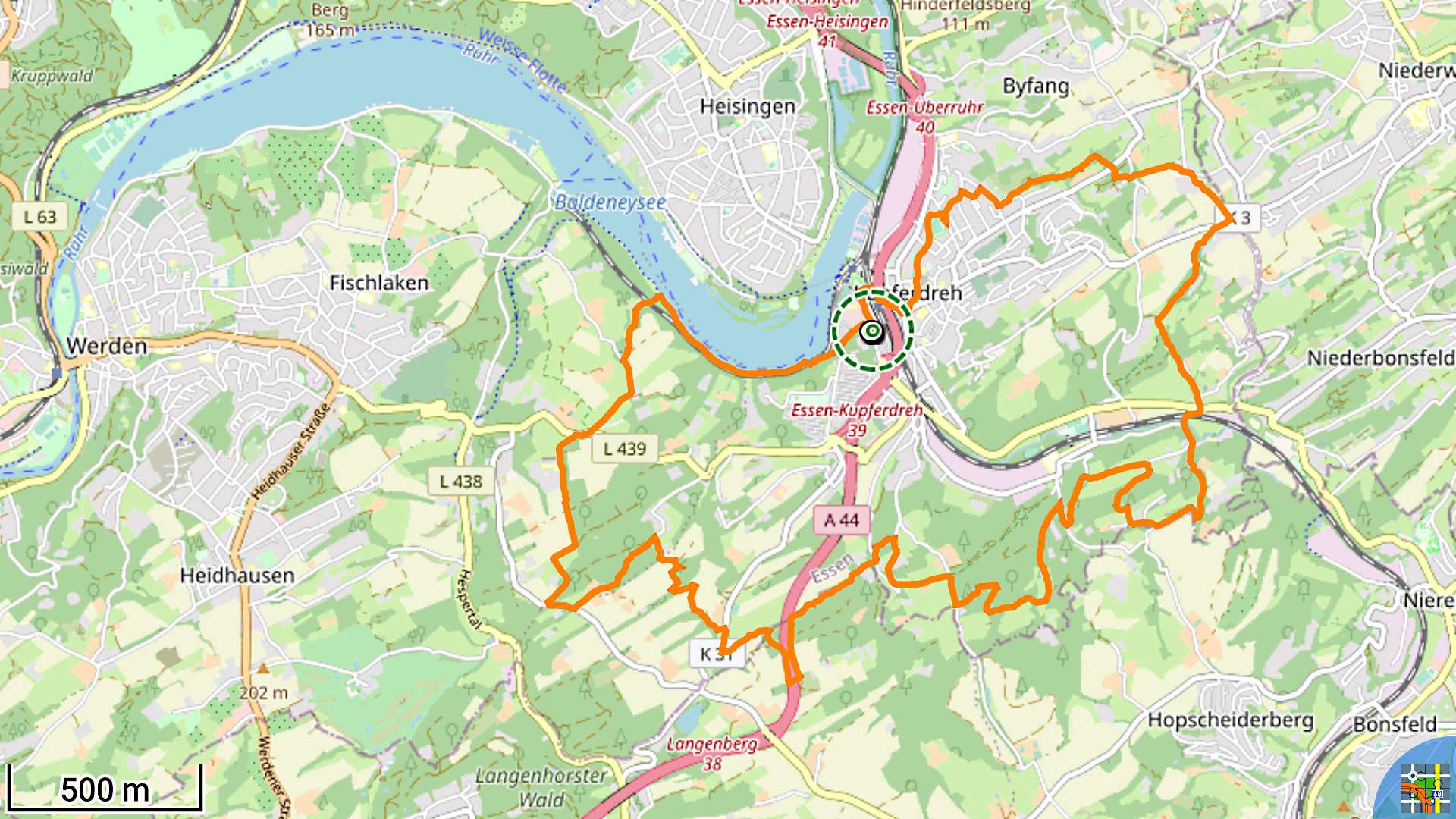 Track der Wanderung rund um Kupferdreh