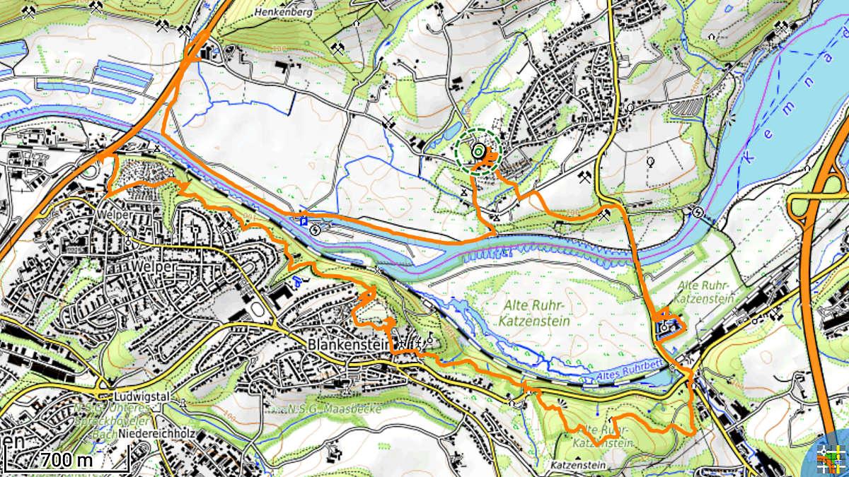 Track der Wanderung von Stiepel nach Blankenstein